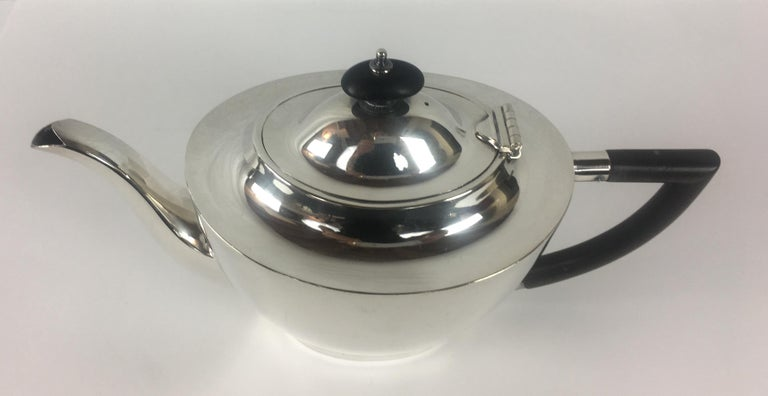 French Art Deco Silver Plated Tea Service, 3 Pieces For Sale 4