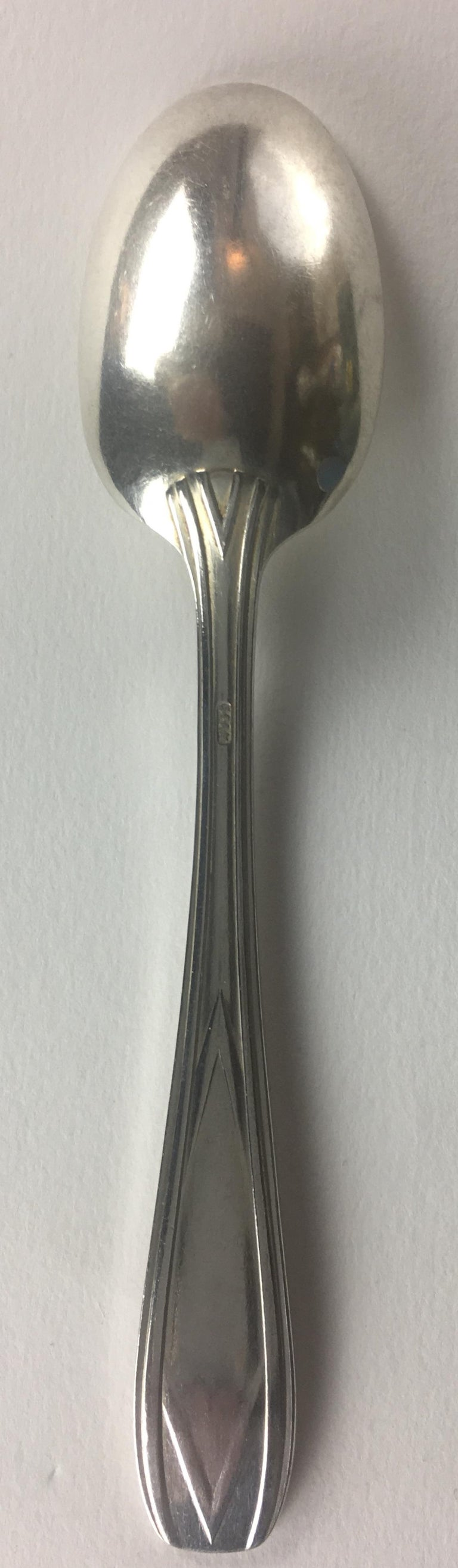 20th Century French Art Deco Silver Plated Tea Spoon Set of 12 with Original Box For Sale