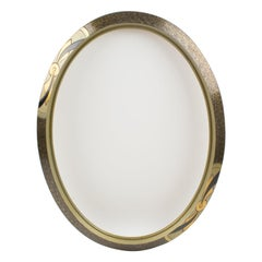 French Art Deco Silvered Wood Ovoid Frame for Painting, Drawing or Mirror