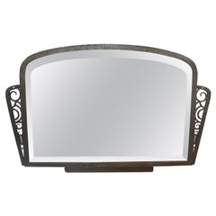 French Art Deco Silvered Wrought Iron Beveled Mirror