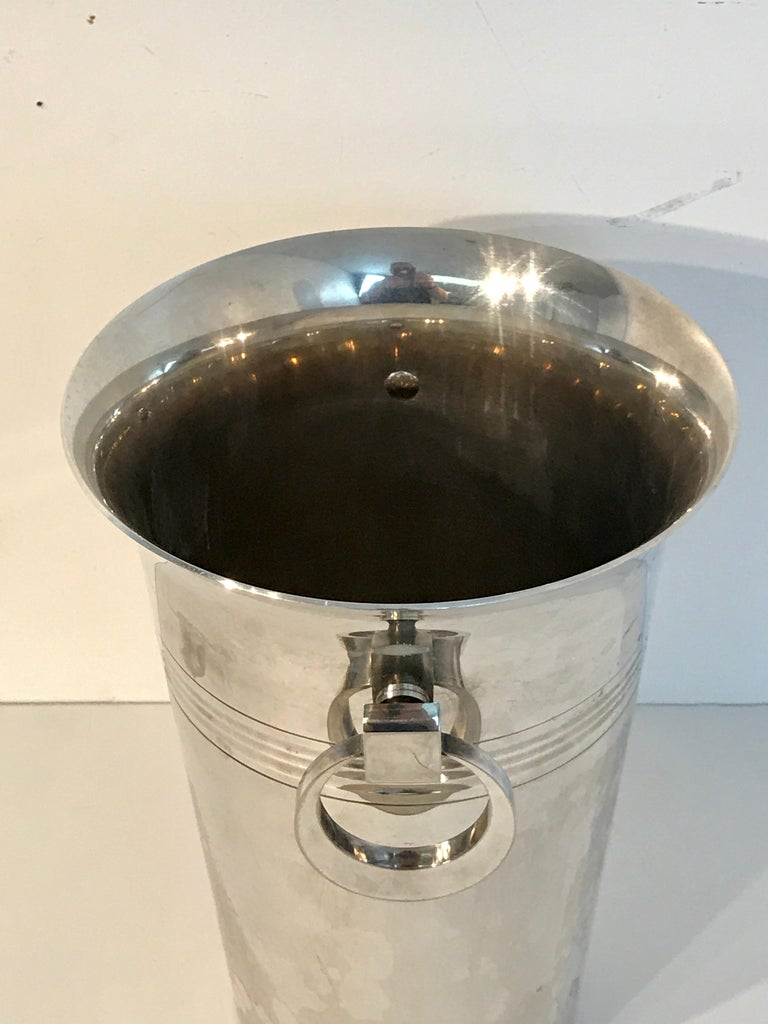 French Art Deco Silver Plated Champagne Bucket For Sale 1