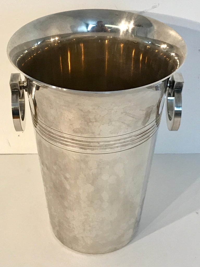 French Art Deco Silver Plated Champagne Bucket For Sale 2