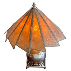 French Art Deco Silverplated Orb Lamp with Mica Shade