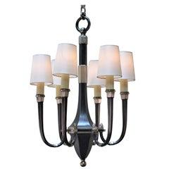 French Art Deco Six-Arm Silver on Bronze Chandelier