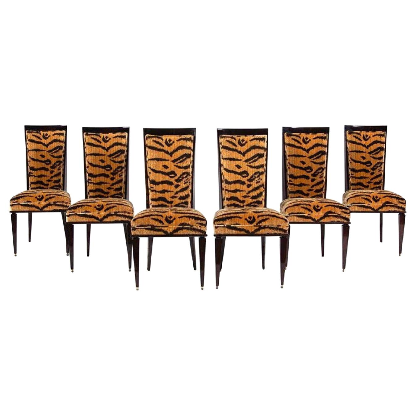 French Art Deco Six Leopard Print Dining Chairs