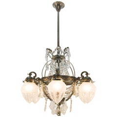French Art Deco Six-Light Bronze and Crystal Chandelier