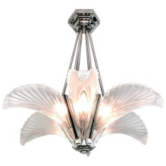 French Art Deco Six Panels Feather Pendant Chandelier