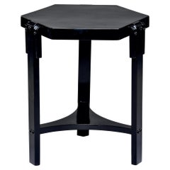 French Art Deco Six-Sided Ebonized Side Table