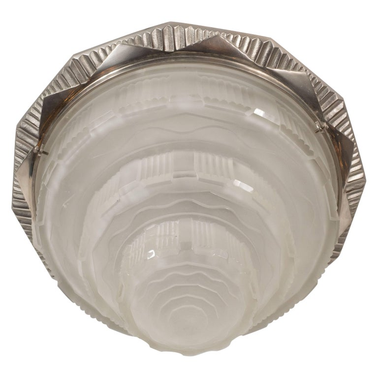 French Art Deco Skyscraper Style Nickel & Glass Flush Mount by Gênet et Michon