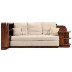 French Art Deco Sofa and Queen Size Bed Attached on the Backside; Removable