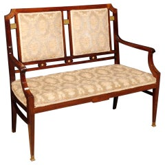 French Art Deco Sofa in Mahogany Wood, 20th Century