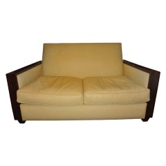 French Art Deco Sofa Upholstered in Leather, circa 1930