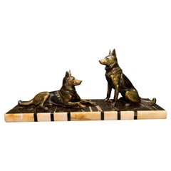 French Art Deco Spelter Alsatian Dogs on a Marble Base
