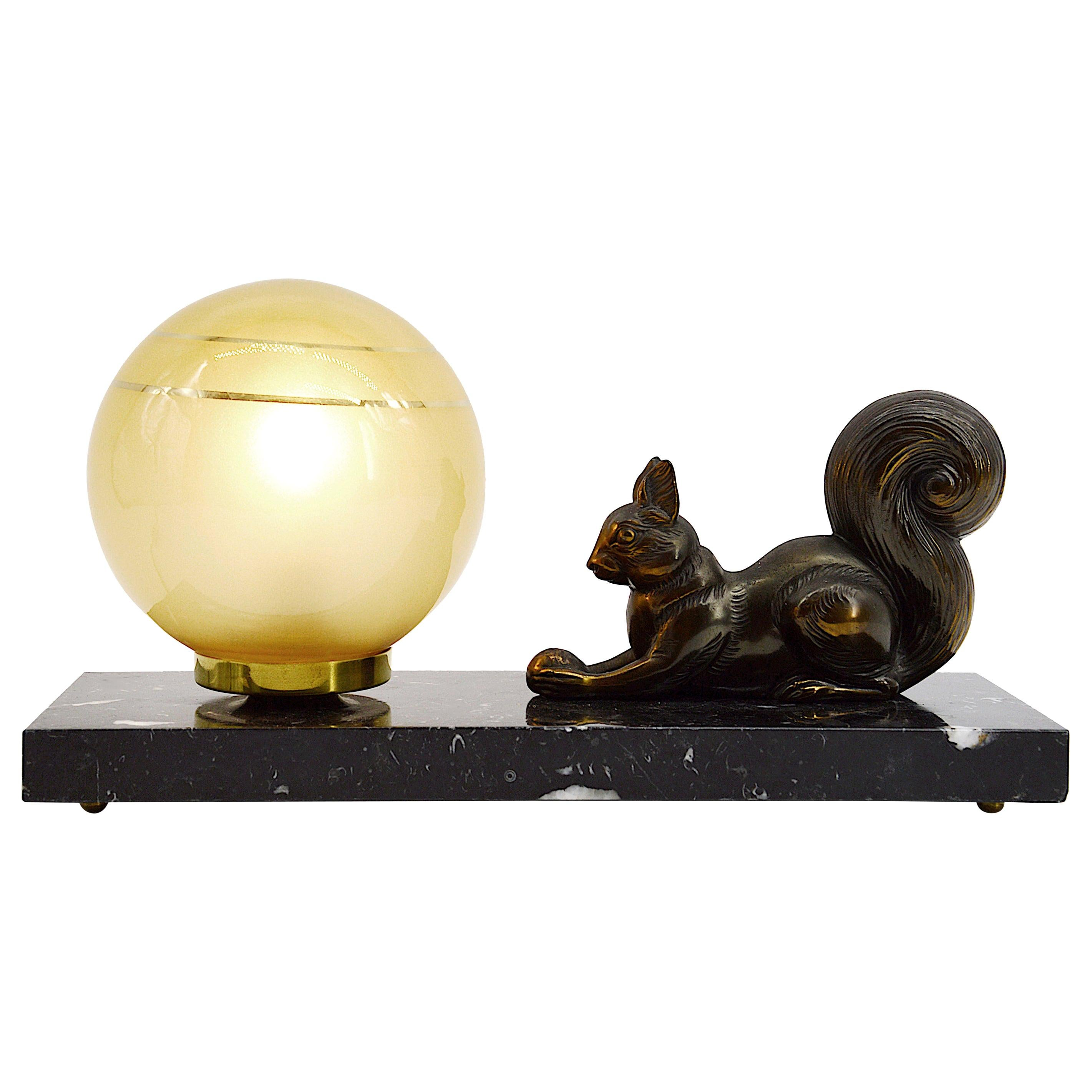 French Art Deco Squirrel Table Lamp Night-Light, 1930s