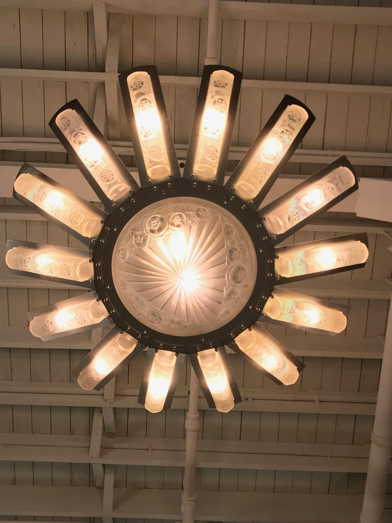French Art Deco Starburst Chandelier by Degué For Sale 11