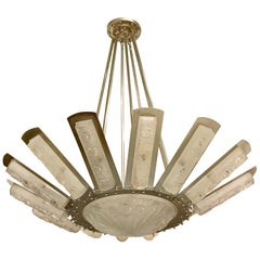 French Art Deco Starburst Chandelier by Degué