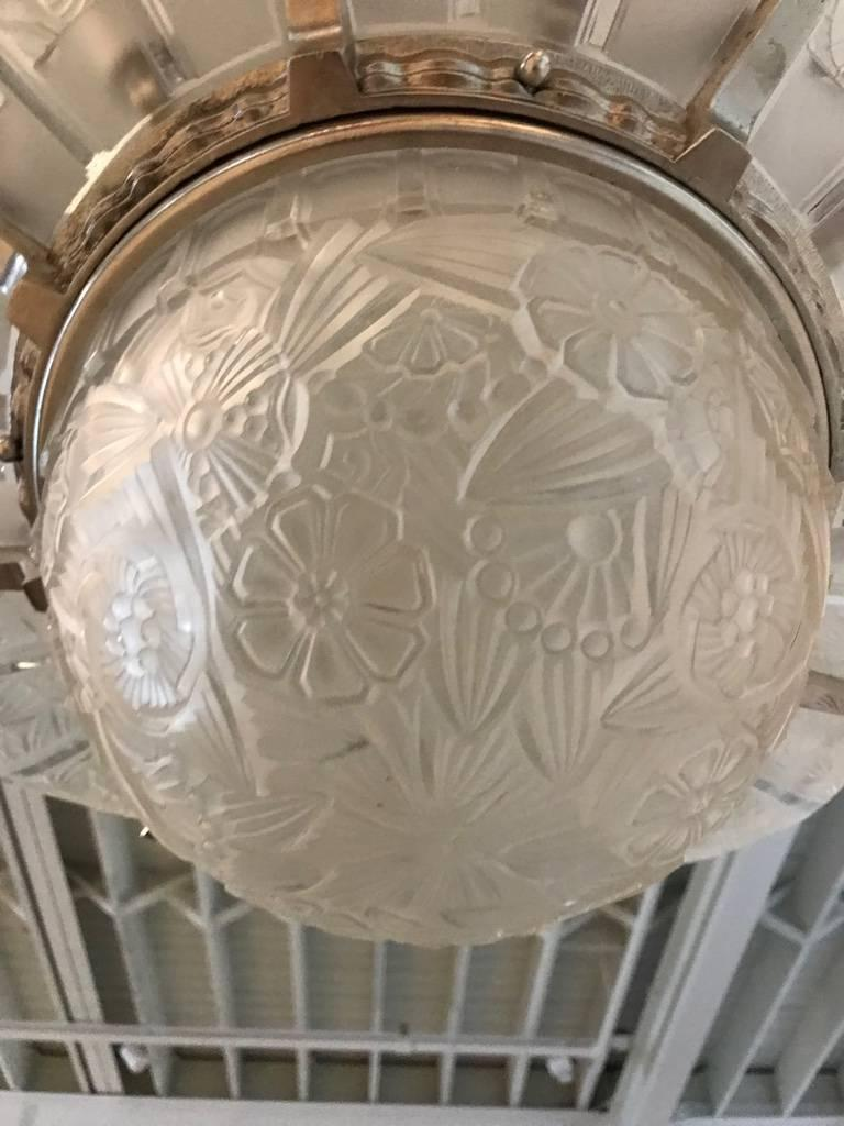French Art Deco Starburst Chandelier Signed by Hettier Vincent For Sale 4