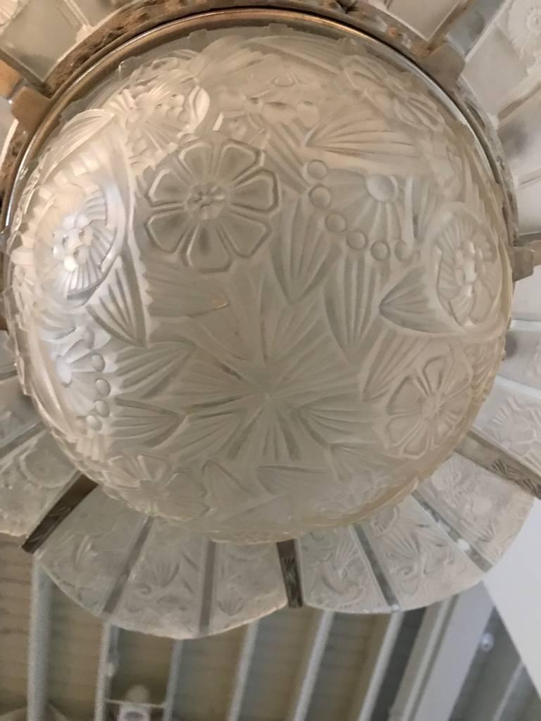 French Art Deco Starburst Chandelier Signed by Hettier Vincent For Sale 5