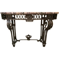 French Art Deco Steel and Marble-Top Console Table
