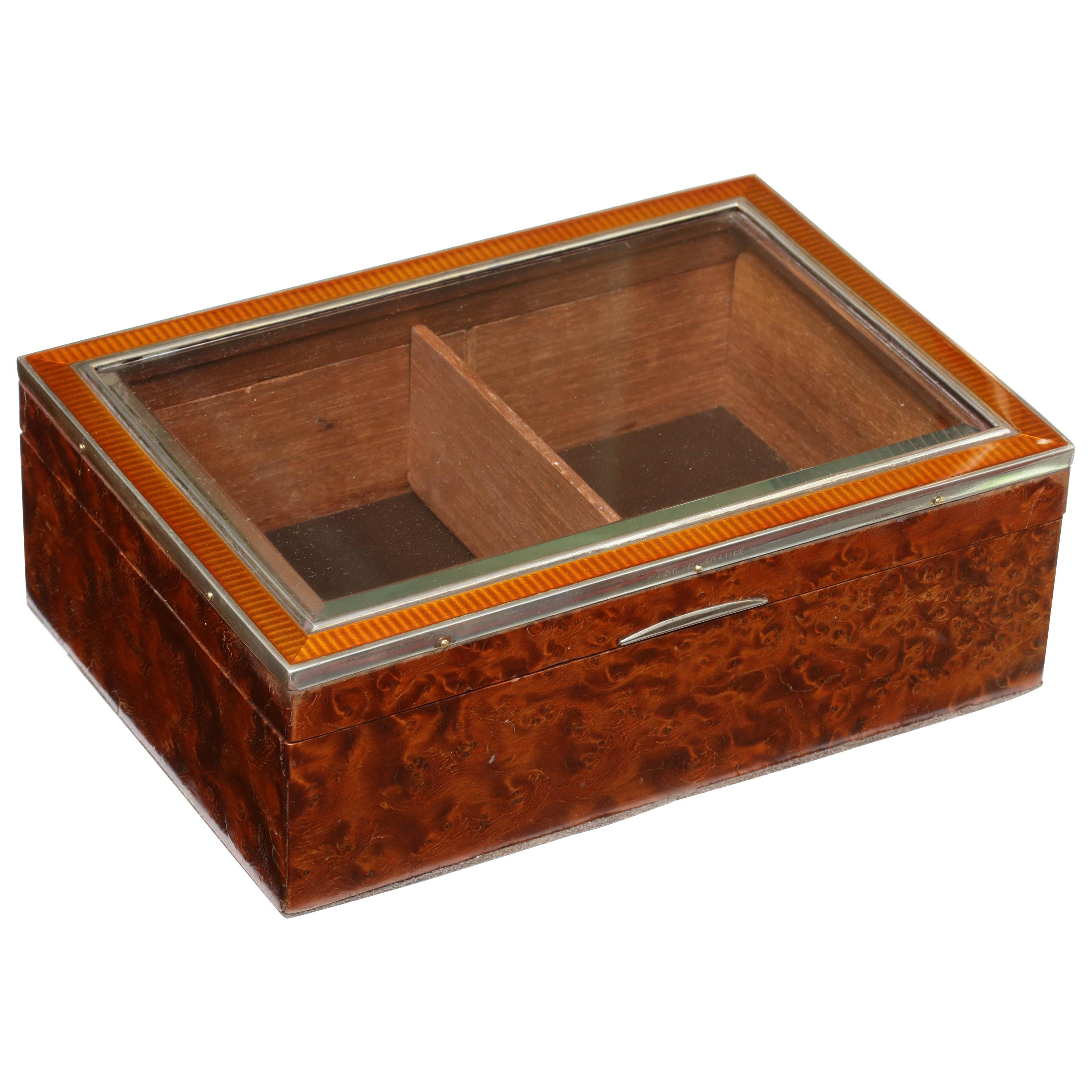 French Art Deco Sterling Silver, Enamel Glass-Mounted Burled Walnut Table Box