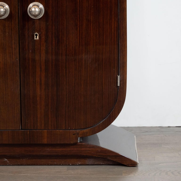 French Art Deco Streamlined Walnut & Nickeled Bronze Illuminating Bar Cabinet In Excellent Condition For Sale In New York, NY