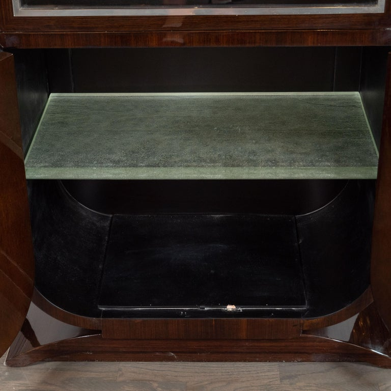 French Art Deco Streamlined Walnut & Nickeled Bronze Illuminating Bar Cabinet For Sale 1