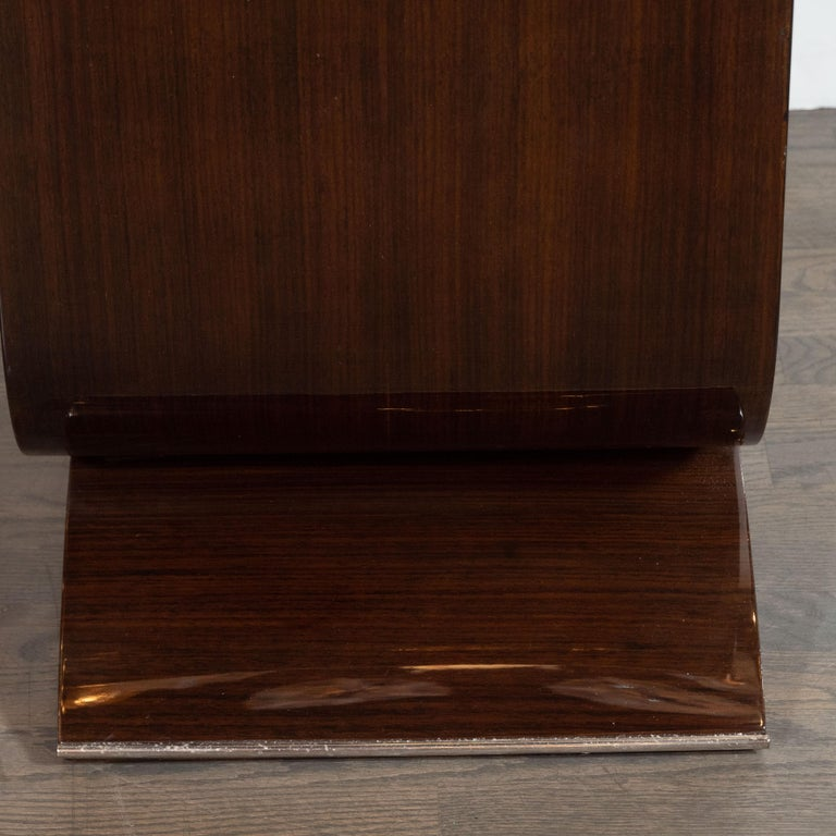 French Art Deco Streamlined Walnut & Nickeled Bronze Illuminating Bar Cabinet For Sale 4