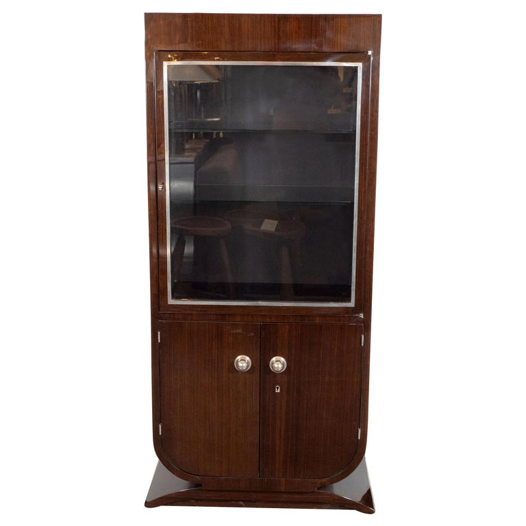 French Art Deco Streamlined Walnut & Nickeled Bronze Illuminating Bar Cabinet For Sale
