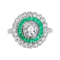 French Art Deco Style 0.80 Carat Diamond and Emerald Engagement Ring, Platinum