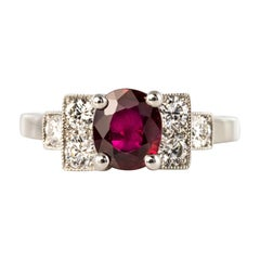 French Art Deco Style 1.26 Ruby Diamonds Platinum Ring