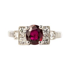 French Art Deco Style 1.47 Ruby Diamonds Platinum Ring