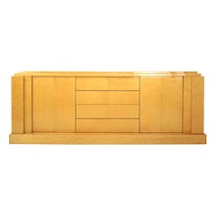 French Art Deco Style and 1980's Design Paul Michel Bird Eye Burl Wood Sideboard