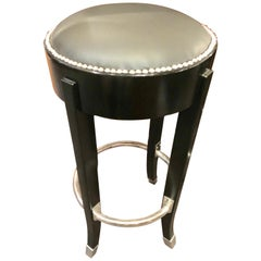 French Art Deco Style Bar Stools Custom Chrome and Black Ruhlmann Style
