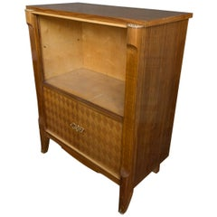 French Art Deco Style Blonde Mahogany Display Cabinet