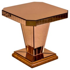French Art Deco Style Bronze Mirrored Console or Side Table