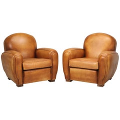 French All Original Leather Club Chairs, Simply the Finest Pair We've Ever Had