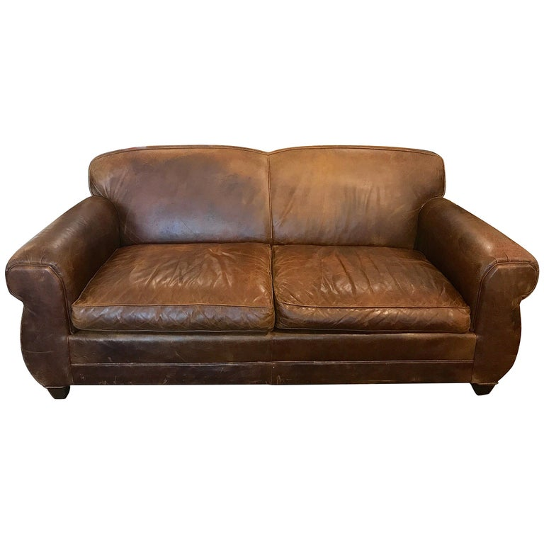 French Art Deco Style Distressed Leather Sofa For