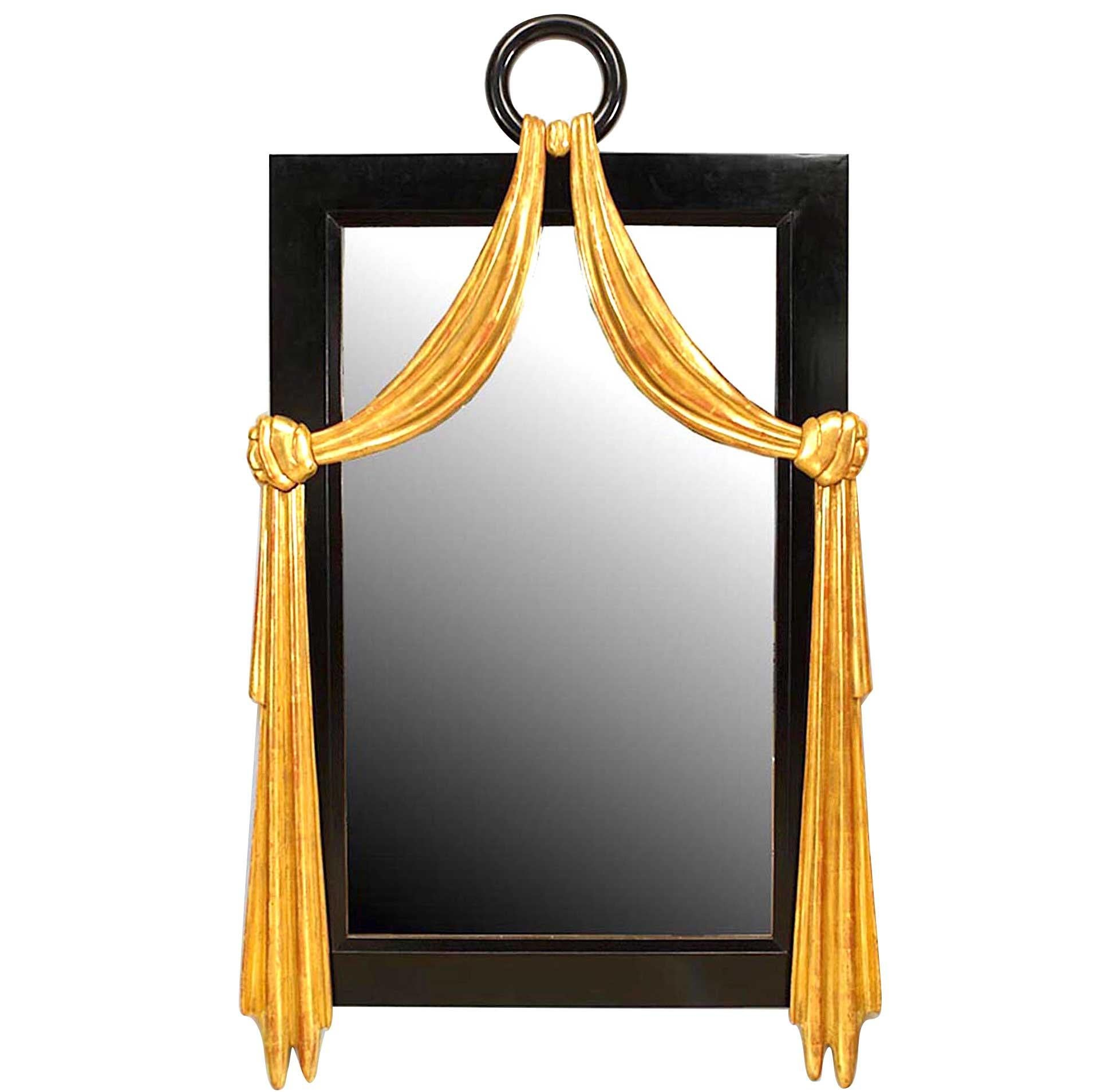 French Art Deco Style Ebonized Wall Mirror with Gilt Swag