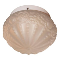 French Art Deco Style Floral Flush Mount in Rose Gold Molded Glass