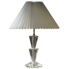 French Art Deco Style Glass Table Lamp, 1950s