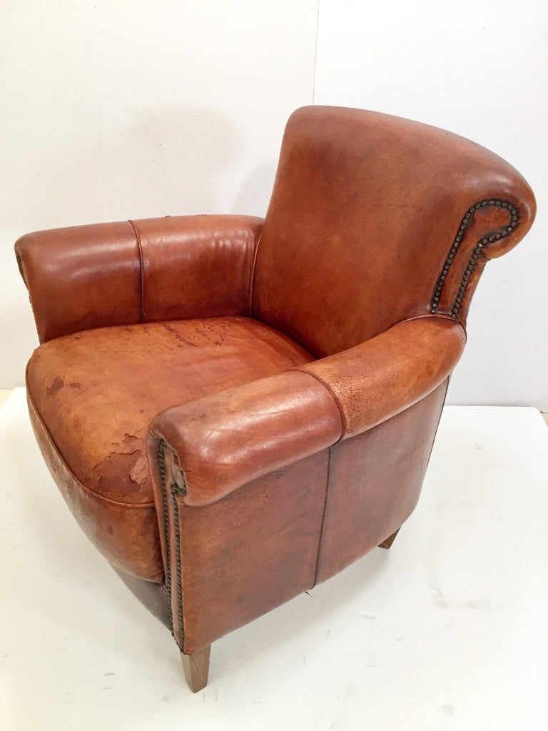 French Art Deco Style Library Leather Club Chair With