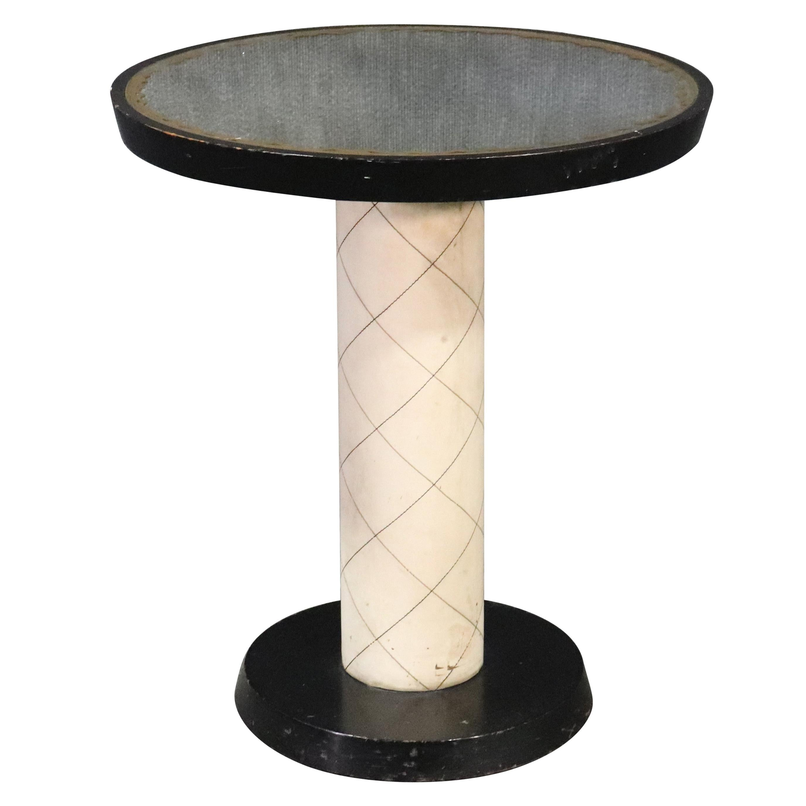 French Art Deco Style Mirrored Top Center Table