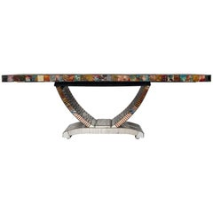 French Art Deco Style Mosaic Mirror Table by Daniel Clément