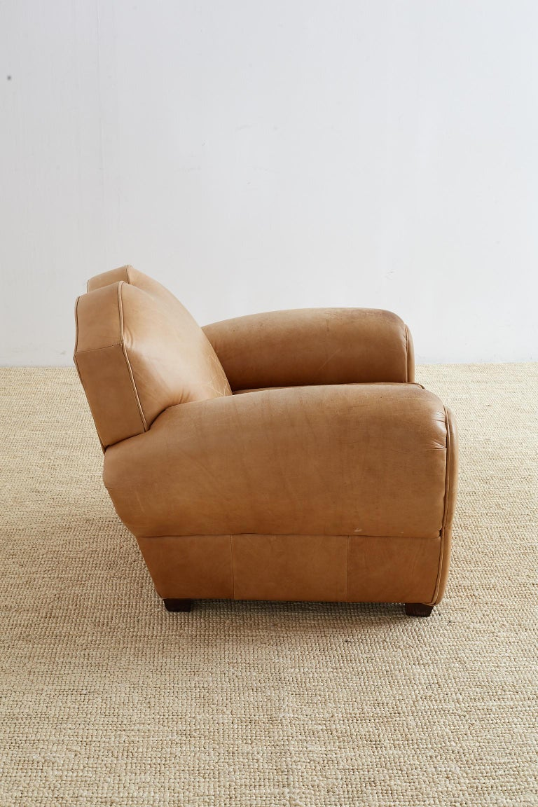 French Art Deco Style Moustache Leather Club Chair For Sale 5