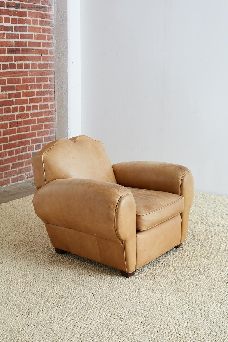 French Art Deco Style Moustache Leather Club Chair For Sale 6