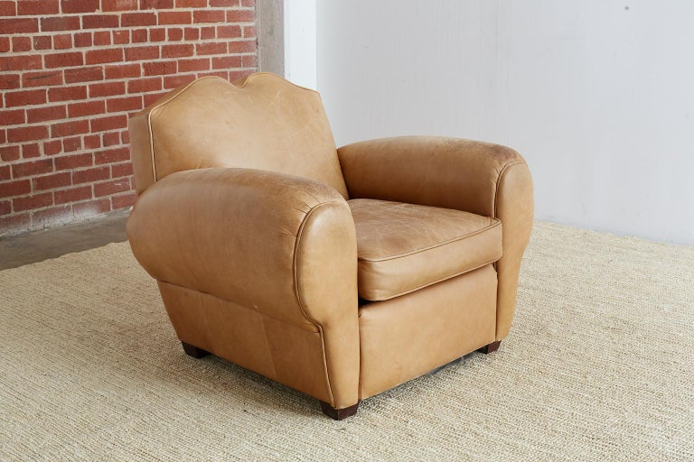 French Art Deco Style Moustache Leather Club Chair For Sale 7