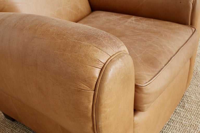 French Art Deco Style Moustache Leather Club Chair For Sale 8