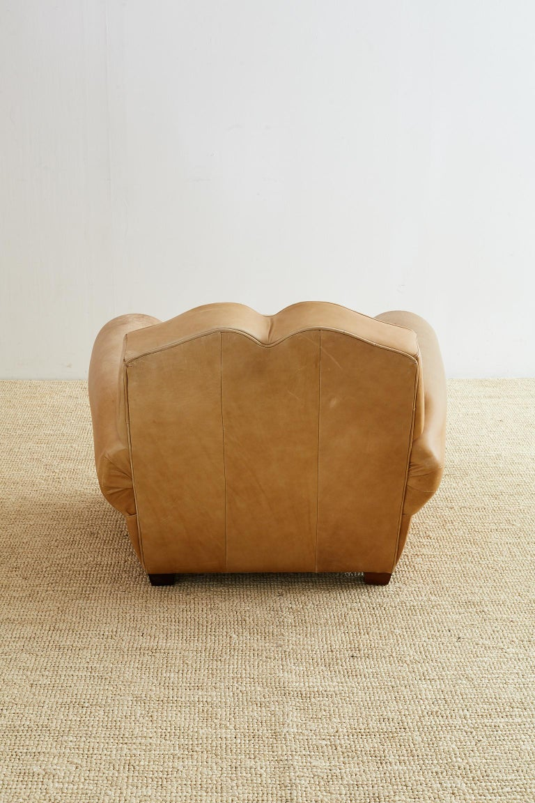 French Art Deco Style Moustache Leather Club Chair For Sale 9