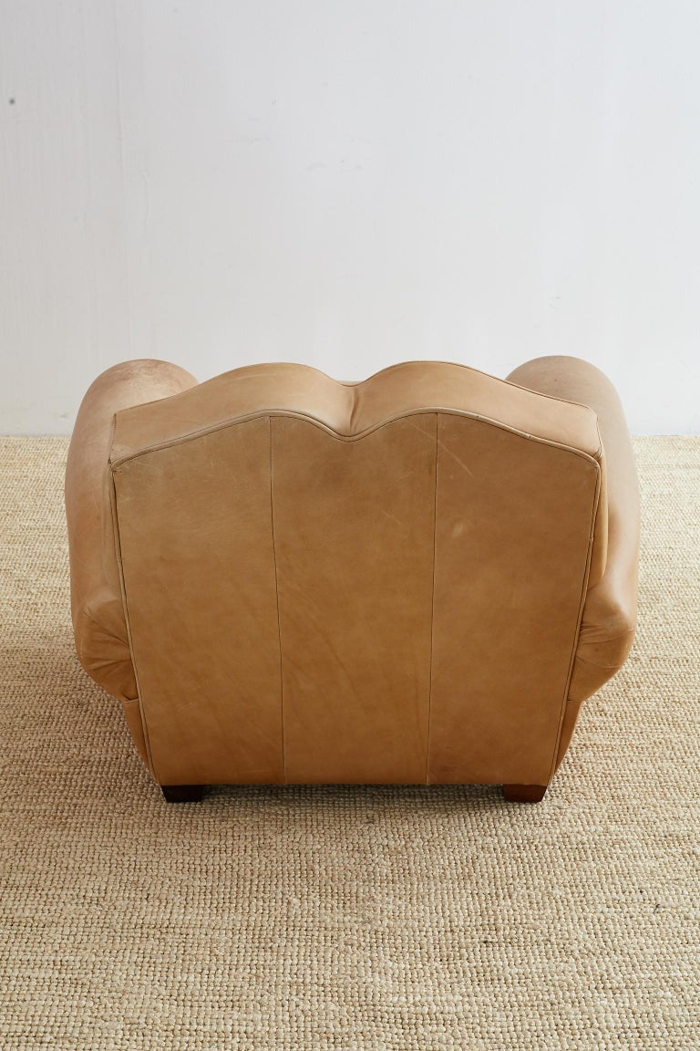 French Art Deco Style Moustache Leather Club Chair For Sale 10
