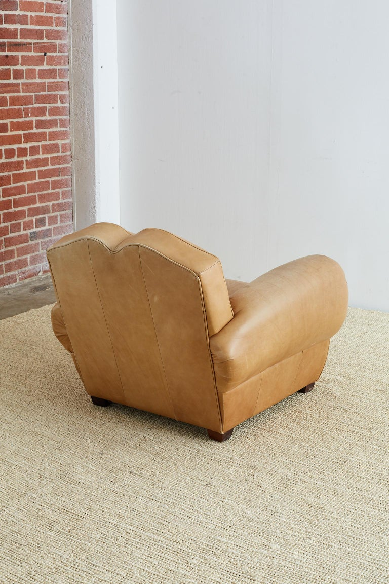 French Art Deco Style Moustache Leather Club Chair For Sale 11